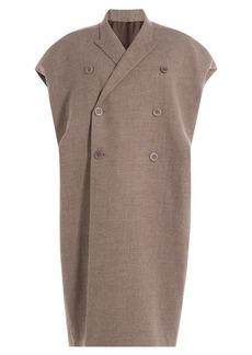 Rick Owens Wool Blend Coat with Capped Sleeves