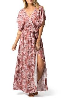 Rip Curl Coastal Tide Floral Faux Wrap Maxi Dress