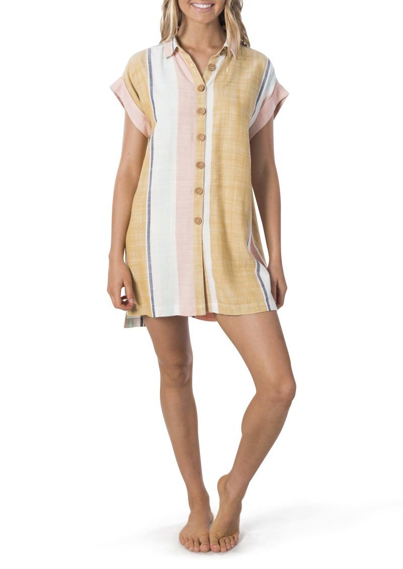 Rip Curl Sunsetters Stripe Mini Shirtdress