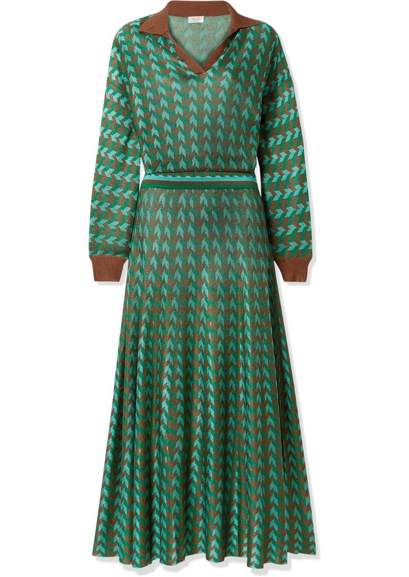 RIXO Annie Houndstooth Knitted Midi Dress