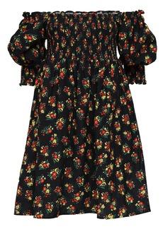 RIXO Brenda Printed Rayon & Linen Mini Dress