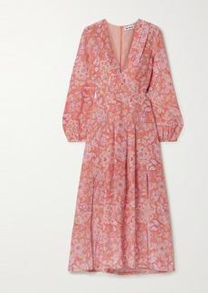 RIXO Camellia Pleated Floral-print Silk Crepe De Chine Midi Dress