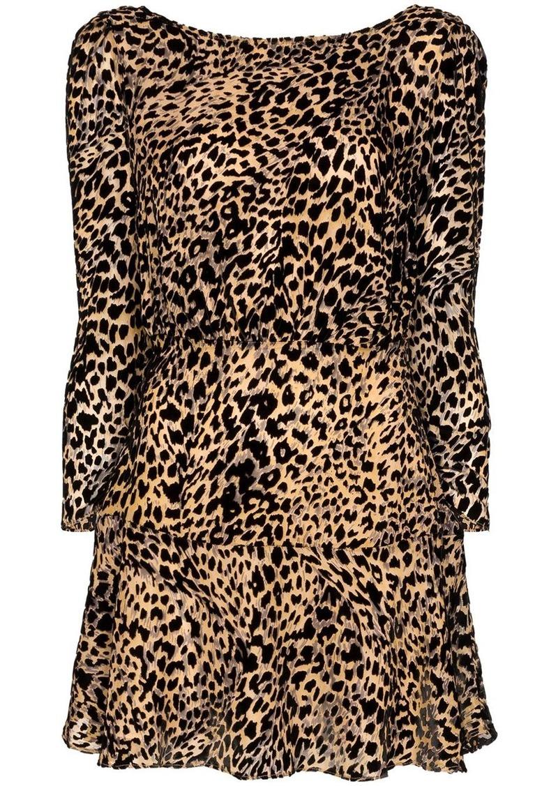 RIXO Clarice leopard print mini dress