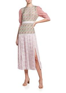 RIXO Cozi Mixed Floral Midi Dress