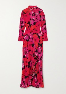 RIXO Dani Open-back Ruffled Floral-print Silk Midi Dress
