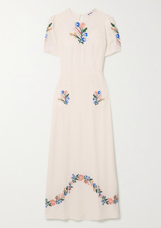 RIXO Dominique Belted Embroidered Gauze Midi Dress