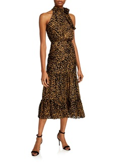 RIXO Eleanor Leopard Chiffon Dress
