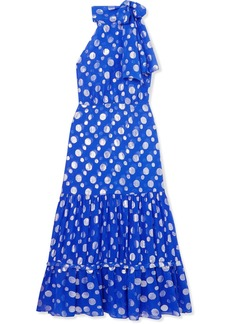 RIXO Eleanor Polka-dot Fil Coupé Silk-chiffon Midi Dress