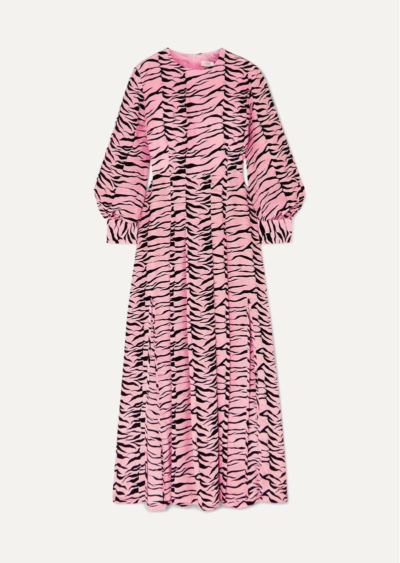 RIXO Emma Pleated Printed Silk Crepe De Chine Midi Dress