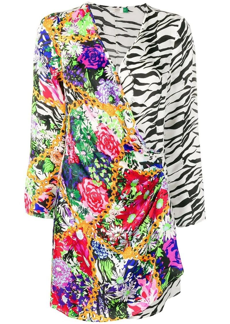 RIXO floral zebra print mini dress