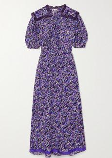 RIXO Gwen Tie-detailed Floral-print Cotton And Silk-blend Midi Dress