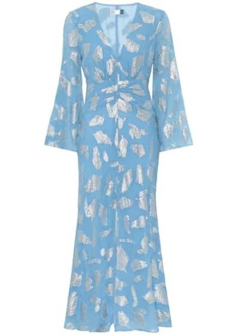 RIXO Indra metallic silk-blend midi dress