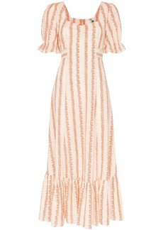 RIXO Kate floral-stripe midi-dress