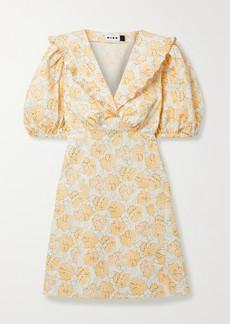 RIXO Kayla Ruffled Floral-print Cotton Mini Dress