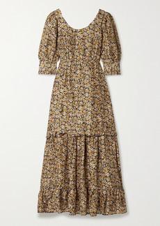 RIXO Kiara Ruffled Floral-print Silk Maxi Dress
