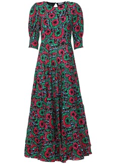 RIXO Kristen Floral Print Ruffled Long Dress