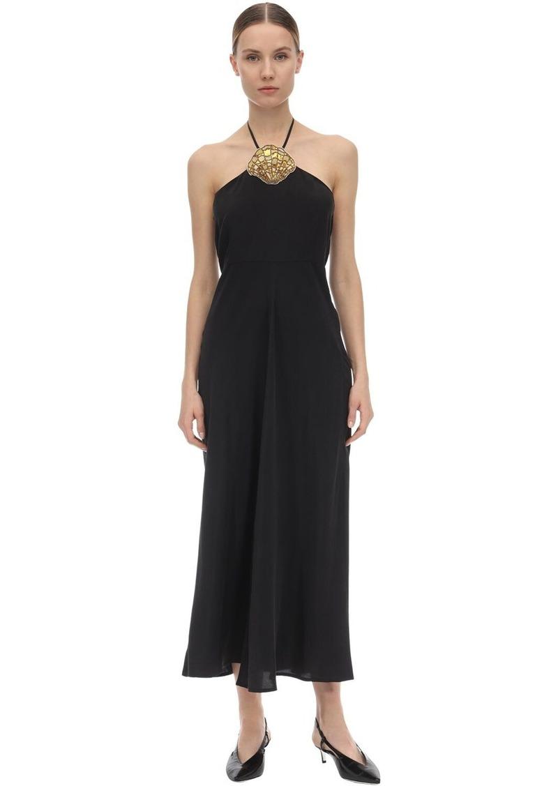 Lana Embellished Satin Midi Dress