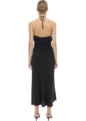 RIXO Lana Embellished Satin Midi Dress