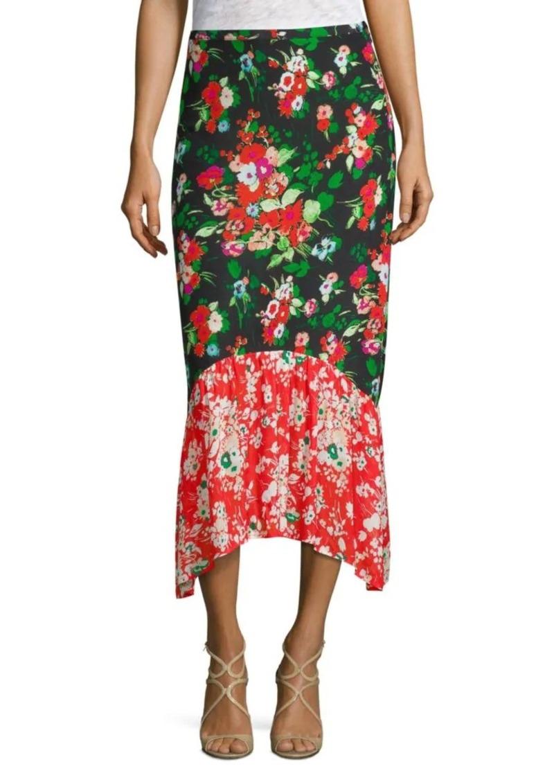 105e2e1fe8 Leandra Floral Silk Midi Skirt. RIXO