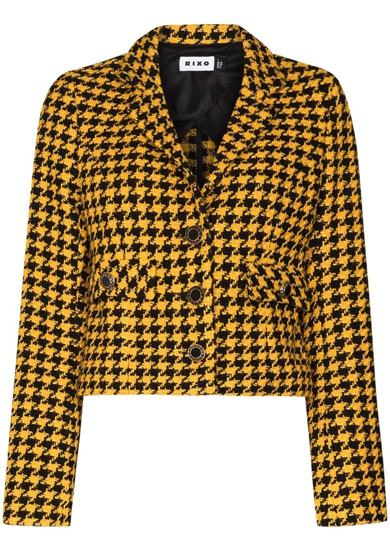 houndstooth pattern cropped blazer