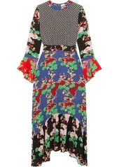 RIXO Chrissy patchwork printed silk midi dress
