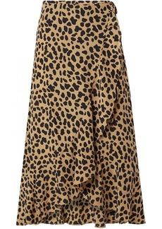 Rixo London Gracie leopard-print silk-crepe wrap skirt