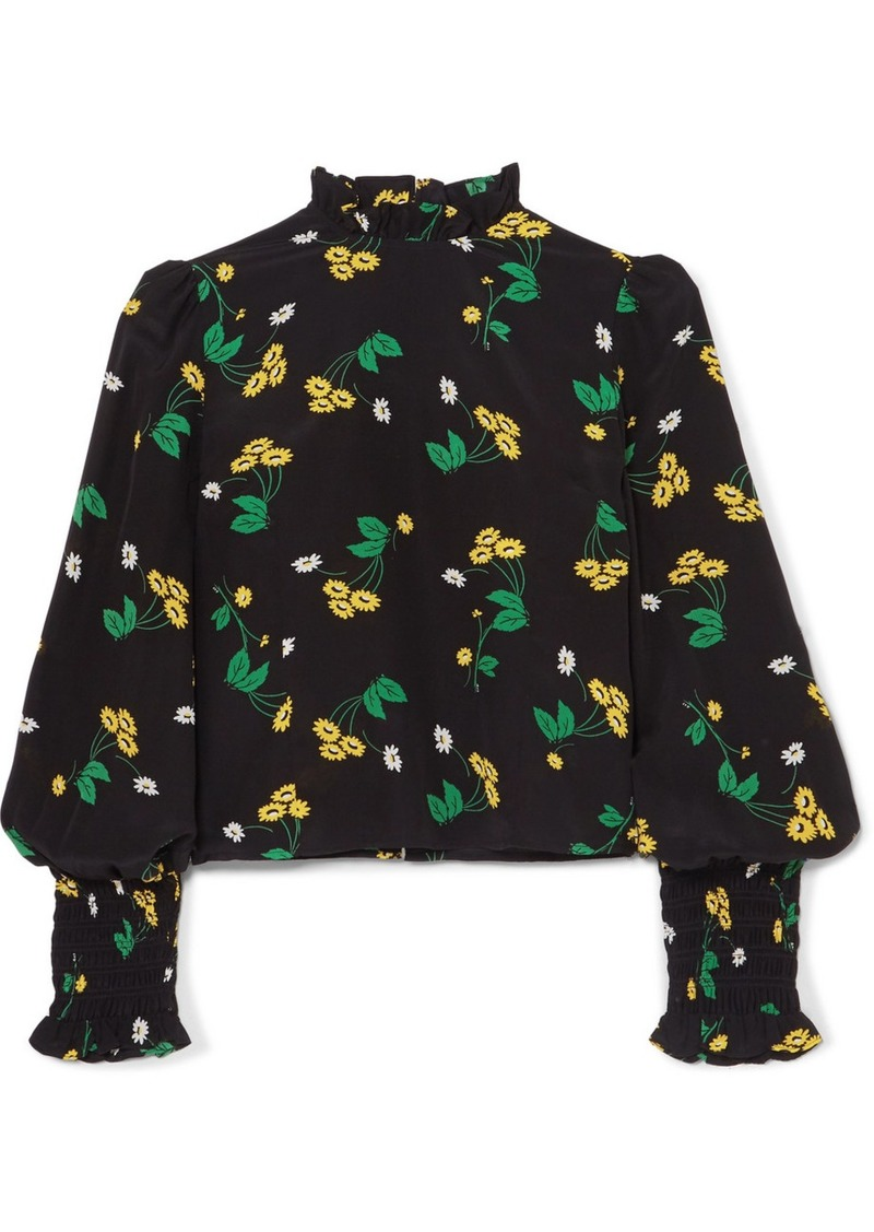 Rixo London Jenny Ruffled Floral-print Silk-crepe Top