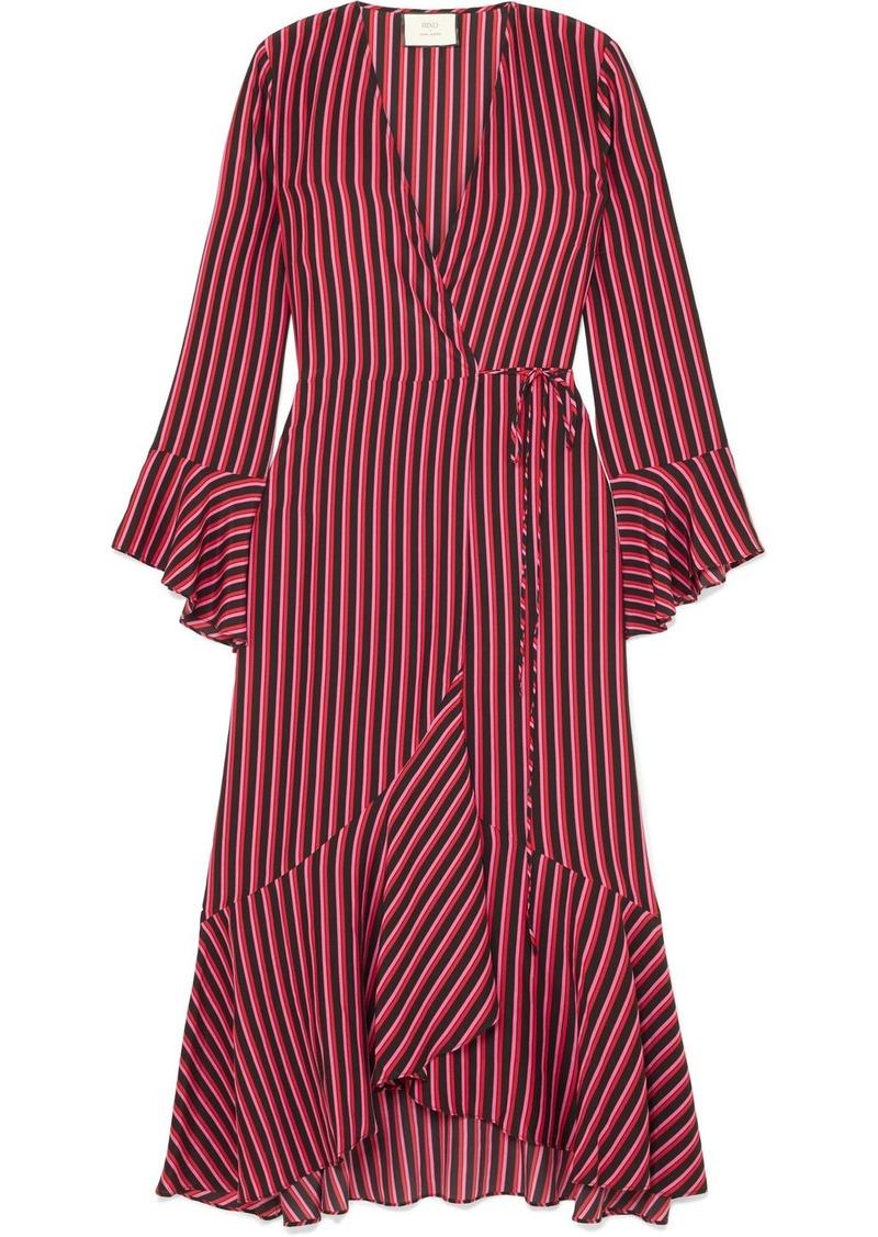 RIXO Laura Jackson Luna Striped Silk-crepe Wrap Dress