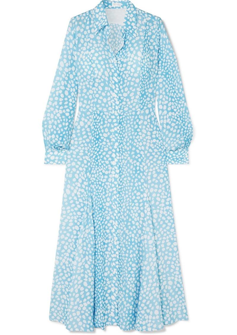RIXO Maddison Leopard-print Crepe De Chine Midi Dress