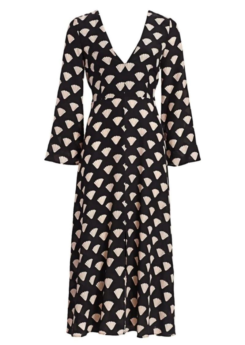 RIXO Nora Shell Print Midi Dress