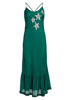 RIXO Odelia Sequin Star Silk Slip Dress