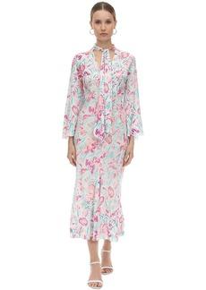 RIXO Printed Silk Chiffon Midi Dress