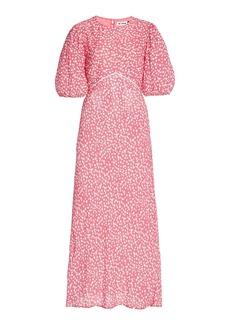 RIXO - Women's Delilah Puff-Sleeve Printed Crepe Midi Dress - Pink - Moda Operandi