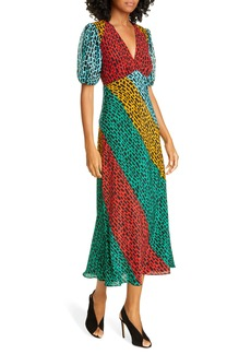 RIXO Amber Colorblock Giraffe Print Silk Blend Dress