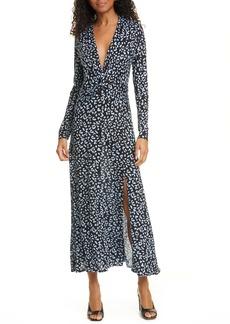RIXO Anja Leopard Print Silk Blend Long Sleeve Midi Dress