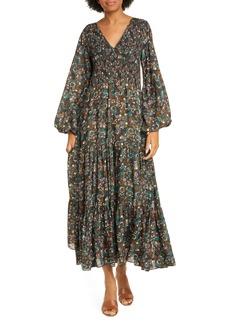 RIXO Brooke Smocked Long Sleeve Maxi Dress