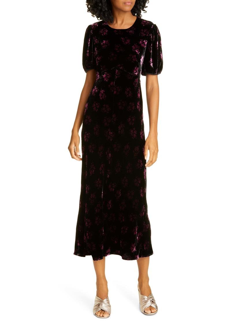RIXO Daisy Velvet Midi Dress