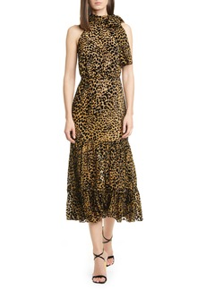 RIXO Eleanor Leopard Burnout Midi Dress