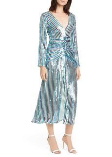 RIXO Emmy Sequin Stripe Long Sleeve Maxi Dress