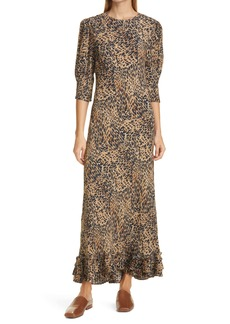 RIXO Jessie Leopard Print Maxi Dress