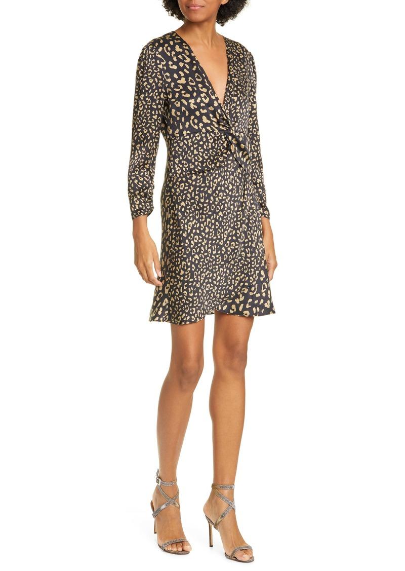 RIXO Lilly Leopard Print Silk Minidress