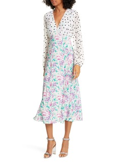 RIXO Melanie Print Long Sleeve Silk Midi Dress