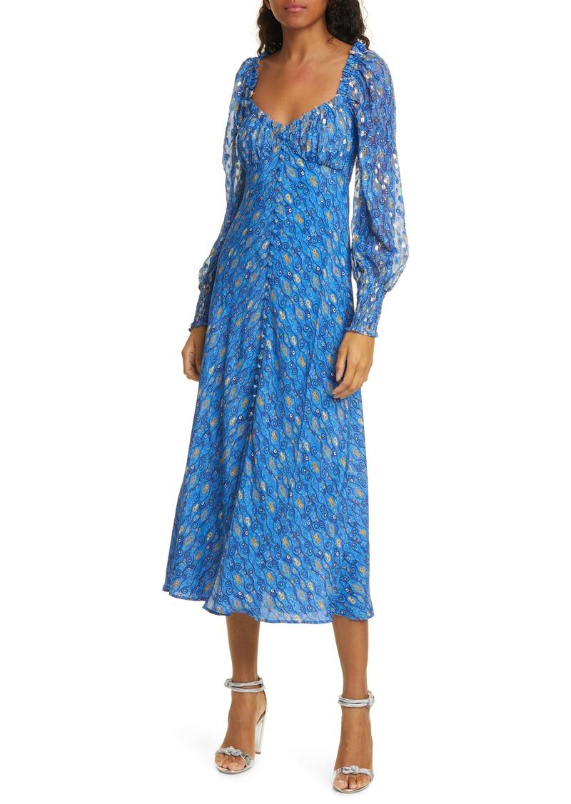 RIXO Miriam Fil Coupé Long Sleeve Midi Dress