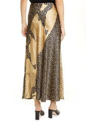 RIXO Parker Leopard Print Silk Maxi Skirt