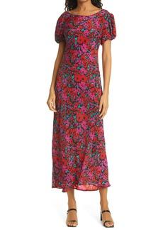 RIXO Reese Cap Sleeve Silk Leaf Print Dress