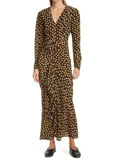 RIXO Tilda Long Sleeve Silk Maxi Dress