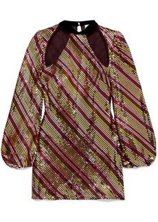 Rixo Woman Harriet Cutout Velvet-trimmed Sequined Crepe Mini Dress Pink