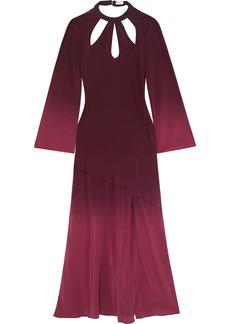Rixo Woman Kaia Cutout Dégradé Silk Crepe De Chine Maxi Dress Burgundy