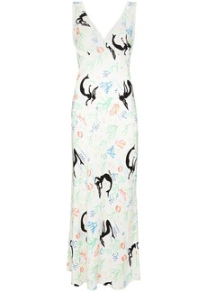 RIXO Sandrine V-neck maxi dress