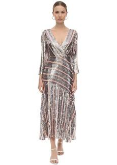 RIXO Sequined Viscose Chiffon Midi Dress